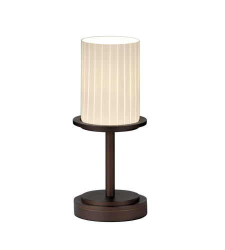 Justice Design FSN-8798-10-RBON-DBRZ Fusion 12 inch 60 watt Dark Bronze Table Lamp Portable Light in Ribbon photo
