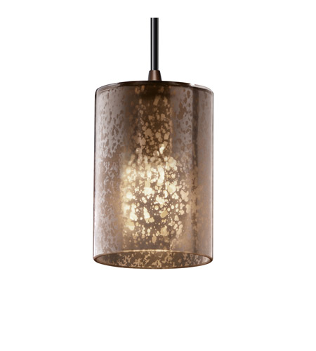 Justice Design FSN-8815-10-MROR-DBRZ Fusion 1 Light 4 inch Dark Bronze Pendant Ceiling Light in Cord, Mercury Glass, Cylinder with Flat Rim photo