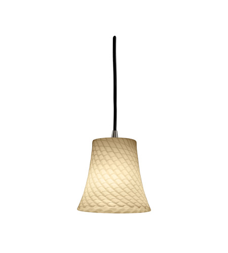 Justice Design Fusion Pendants Mini 1-Light Pendant in Antique Brass FSN-8815-20-WEVE-ABRS photo