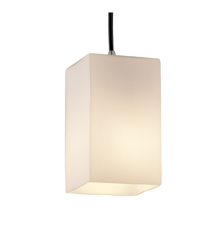 Justice Design FSN-8816-15-OPAL-NCKL Fusion 1 Light 4 inch Brushed Nickel Pendant Ceiling Light in Cord, Opal, Square with Flat Rim photo