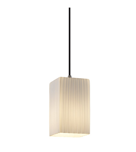 Justice Design FSN-8816-15-RBON-NCKL Fusion 1 Light 4 inch Brushed Nickel Pendant Ceiling Light in Cord, Ribbon, Square with Flat Rim photo