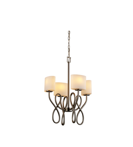 Justice Design Fusion Capellini 4-Light Chandelier in Brushed Nickel FSN-8910-30-OPAL-NCKL photo