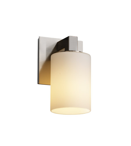 Justice Design FSN-8921-10-OPAL-NCKL Fusion 1 Light 5 inch Brushed Nickel Wall Sconce Wall Light in Opal, Cylinder with Flat Rim photo