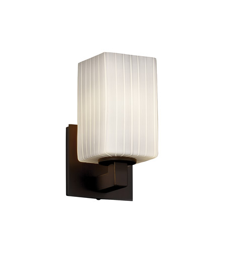 Justice Design FSN-8921-15-RBON-DBRZ Fusion 1 Light 5 inch Dark Bronze Wall Sconce Wall Light in Ribbon, Square with Flat Rim photo