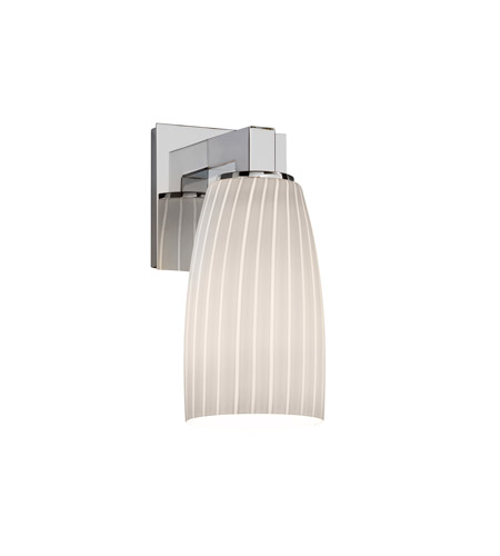 Justice Design FSN-8921-28-RBON-CROM Fusion 1 Light 5 inch Polished Chrome Wall Sconce Wall Light in Ribbon, Tall Tapered Cylinder photo