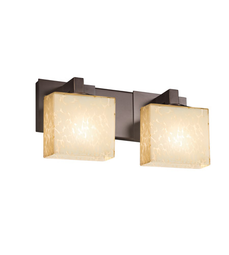 Justice Design FSN-8922-55-DROP-DBRZ Fusion 2 Light 15 inch Dark Bronze Vanity Light Wall Light in 7.25, Droplet, Incandescent, Rectangle