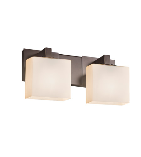 Justice Design FSN-8922-55-OPAL-DBRZ Fusion 2 Light 15 inch Dark Bronze Vanity Light Wall Light in Opal, Rectangle, Incandescent