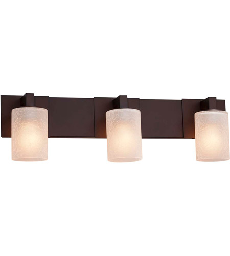 Justice Design FSN-8923-10-FRCR-DBRZ Fusion 3 Light 27 inch Dark Bronze Bath Bar Wall Light in Cylinder with Flat Rim, Incandescent, Frosted Crackle