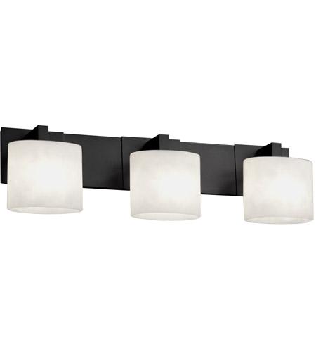 Justice Design Fsn 8923 30 Opal Mblk Fusion 3 Light 28 Inch Matte Black Bath Bar Wall In Oval Fluorescent