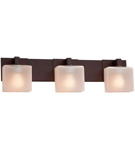 Justice Design FSN-8923-55-FRCR-DBRZ Fusion 3 Light 27 inch Dark Bronze Bath Bar Wall Light in Rectangle, Incandescent, Frosted Crackle