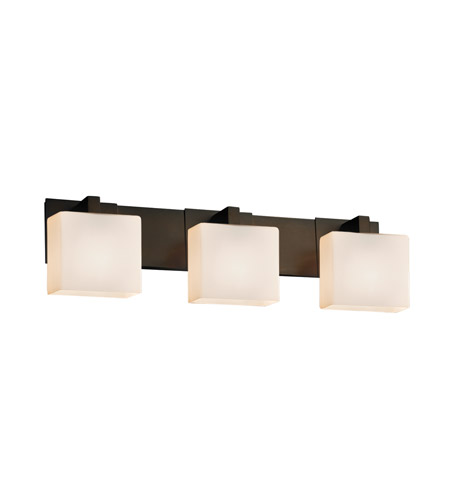 Justice Design FSN-8923-55-OPAL-DBRZ-LED3-2100 Fusion LED 27 inch Dark Bronze Vanity Light Wall Light in Rectangle, Opal, 2100 Lm 3 Light LED