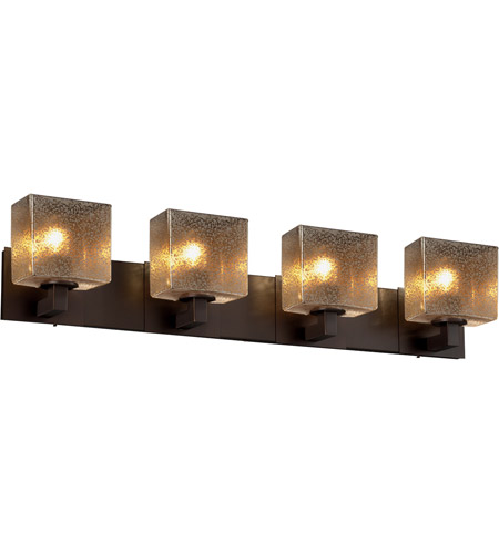 Justice Design FSN-8924-55-MROR-DBRZ-LED4-2800 Fusion LED 35 inch Dark Bronze Vanity Light Wall Light in Rectangle, Mercury Glass, 2800 Lm 4 Light LED