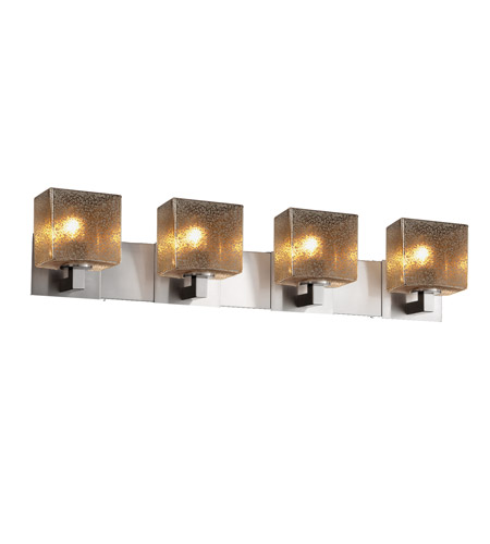 Justice Design FSN-8924-55-MROR-NCKL Fusion 4 Light 35 inch Brushed Nickel Vanity Light Wall Light in 7.25, Mercury Glass, Incandescent, 35.25, Rectangle