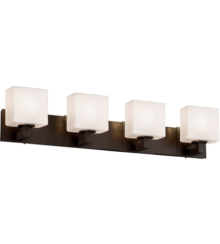 Justice Design FSN-8924-55-OPAL-DBRZ Fusion 4 Light 35 inch Dark Bronze Vanity Light Wall Light in Opal, Rectangle, Incandescent