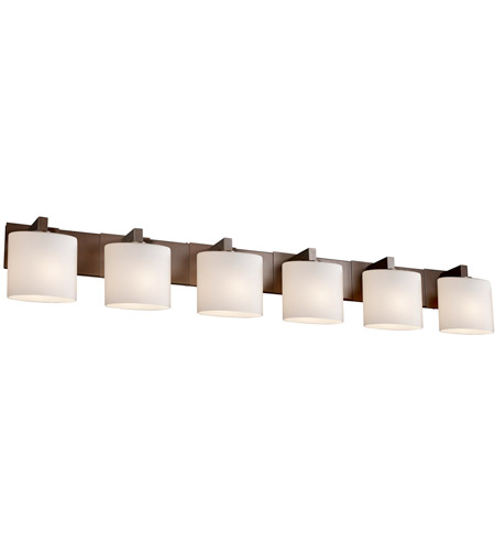 Justice Design FSN-8926-30-OPAL-DBRZ Fusion 6 Light 57 inch Dark Bronze Bath Bar Wall Light in Opal, Oval, Incandescent