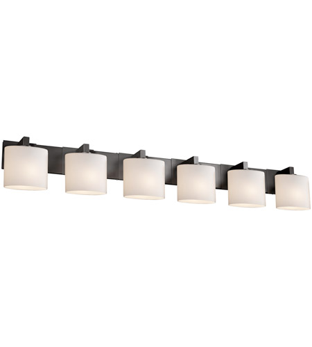 Justice Design FSN-8926-30-OPAL-MBLK Fusion 6 Light 57 inch Matte Black Bath Bar Wall Light in Opal, Oval, Fluorescent