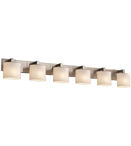 Justice Design FSN-8926-30-OPAL-NCKL Fusion 6 Light 57 inch Brushed Nickel Bath Bar Wall Light in Opal, Oval, Fluorescent
