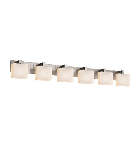 Justice Design FSN-8926-55-OPAL-NCKL Fusion 6 Light 56 inch Brushed Nickel Vanity Light Wall Light in 7.25, Opal, Incandescent, 55.5, Rectangle