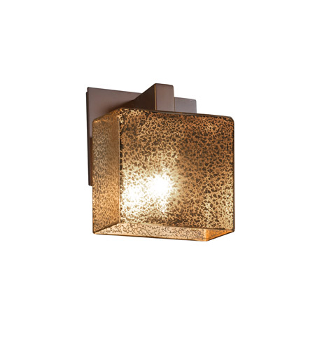 Justice Design FSN-8931-55-MROR-DBRZ Fusion 1 Light 6 inch Dark Bronze ADA Wall Sconce Wall Light in Mercury Glass, Rectangle, Incandescent photo
