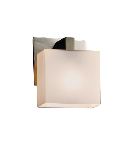 Justice Design FSN-8931-55-OPAL-NCKL Fusion 1 Light 6 inch Brushed Nickel ADA Wall Sconce Wall Light in Opal, Rectangle, Fluorescent photo