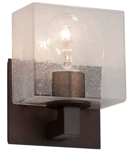Justice Design FSN-8931-55-SEED-DBRZ Fusion 1 Light 7 inch Dark Bronze ADA Wall Sconce Wall Light in Rectangle, Incandescent, Seeded photo