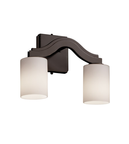 Justice Design FSN-8975-10-OPAL-DBRZ Fusion 2 Light 14 inch Dark Bronze Wall Sconce Wall Light in Opal, Cylinder with Flat Rim, Fluorescent photo