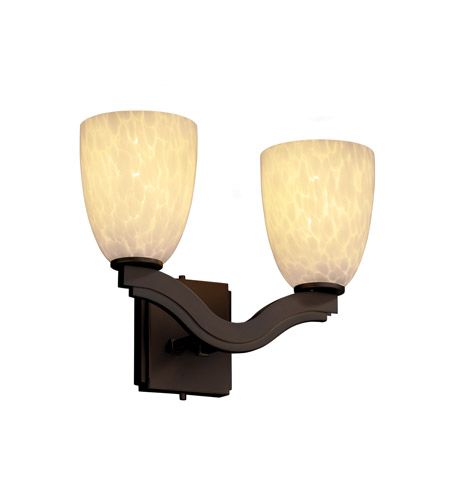 Justice Design FSN-8975-18-DROP-DBRZ Fusion 2 Light 15 inch Dark Bronze Wall Sconce Wall Light in Droplet, Tapered Cylinder, Fluorescent photo
