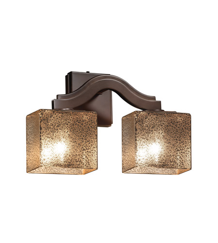 Justice Design FSN-8975-55-MROR-DBRZ Fusion 2 Light 16 inch Dark Bronze Wall Sconce Wall Light in Mercury Glass, Rectangle, Fluorescent photo