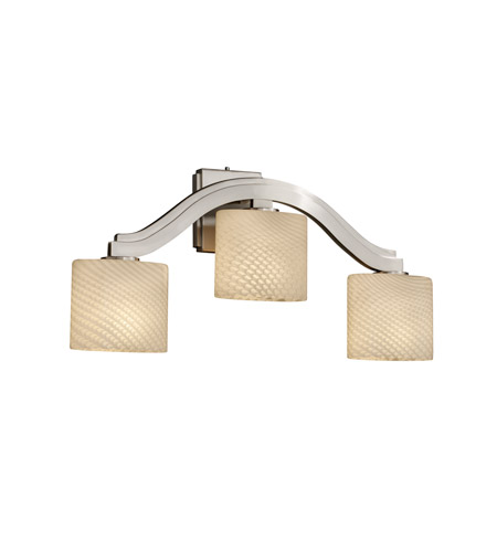 Justice Design FSN-8976-30-WEVE-NCKL Fusion 3 Light 27 inch Brushed Nickel Wall Sconce Wall Light in Weave, Oval, Fluorescent photo