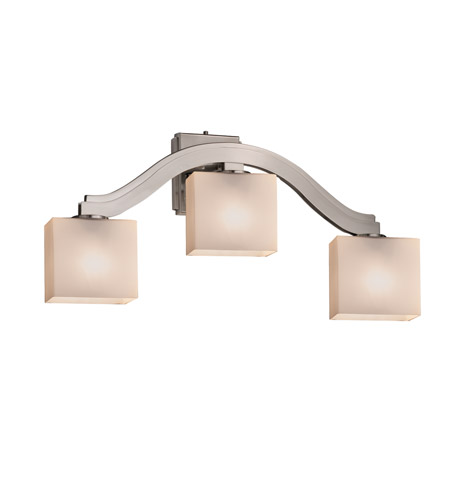 Justice Design FSN-8976-55-OPAL-NCKL-LED3-2100 Fusion LED 26 inch Brushed Nickel Wall Sconce Wall Light in Opal, Rectangle, 2100 Lm 3 Light LED photo