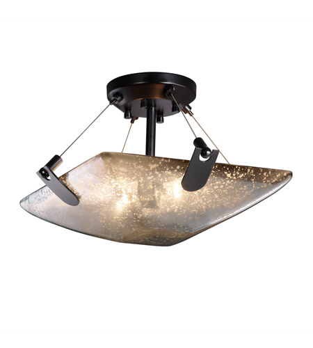 Justice Design FSN-9610-25-MROR-MBLK Fusion 2 Light 16 inch Matte Black Semi-Flush Bowl Ceiling Light in Mercury Glass, Square Bowl photo