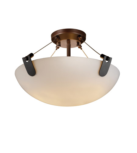 Justice Design FSN-9611-35-OPAL-DBRZ Fusion 3 Light Dark Bronze Semi-Flush Bowl Ceiling Light in Opal photo