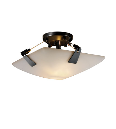 Justice Design FSN-9630-25-OPAL-MBLK Fusion 2 Light 16 inch Matte Black Semi-Flush Bowl Ceiling Light in Opal, Square Bowl photo