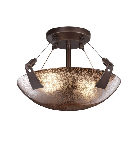 Justice Design FSN-9630-35-MROR-DBRZ Fusion 2 Light Dark Bronze Semi-Flush Bowl Ceiling Light in Mercury Glass, Round Bowl photo