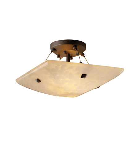 Justice Design FSN-9650-25-DROP-DBRZ-F3 Fusion 2 Light 14 inch Dark Bronze Semi-Flush Bowl Ceiling Light in Pair of Square with Points, Droplet, Square Bowl photo