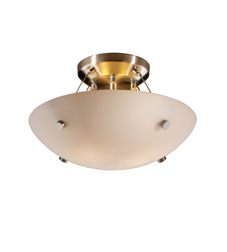 Justice Design FSN-9650-35-OPAL-NCKL-F1 Fusion 2 Light Brushed Nickel Semi-Flush Bowl Ceiling Light in Pair of Cylinders, Opal, Round Bowl photo