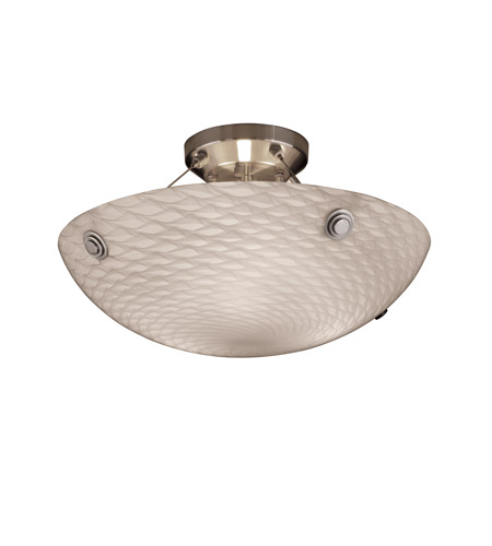 Justice Design FSN-9651-35-WEVE-NCKL-F6 Fusion 3 Light 21 inch Brushed Nickel Semi-Flush Bowl Ceiling Light in Concentric Circles, Weave photo