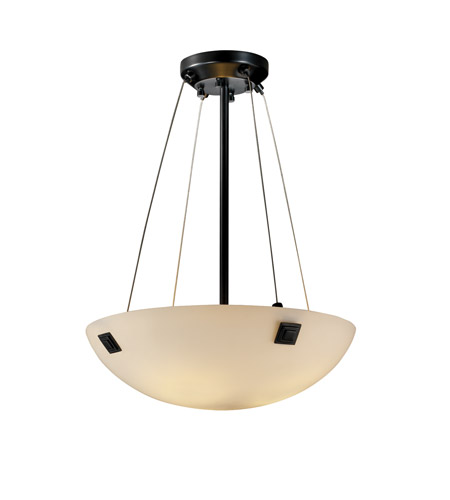 Justice Design FSN-9661-35-OPAL-MBLK-F5 Fusion 3 Light Matte Black Pendant Bowl Ceiling Light in Concentric Squares, Opal photo