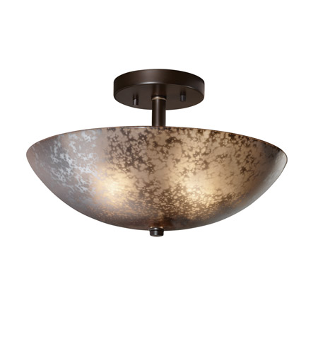 Justice Design FSN-9690-35-MROR-DBRZ Fusion 2 Light 14 inch Dark Bronze Semi-Flush Bowl Ceiling Light in Mercury Glass, Incandescent photo