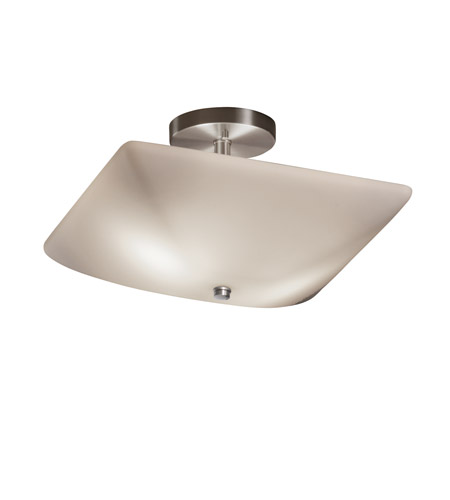 Justice Design FSN-9695-25-OPAL-NCKL Fusion 2 Light 14 inch Brushed Nickel Semi-Flush Bowl Ceiling Light in Opal photo