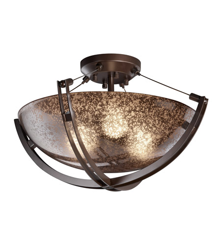 Justice Design FSN-9711-35-MROR-DBRZ Fusion 3 Light 21 inch Dark Bronze Semi-Flush Bowl Ceiling Light in Mercury Glass, Incandescent photo