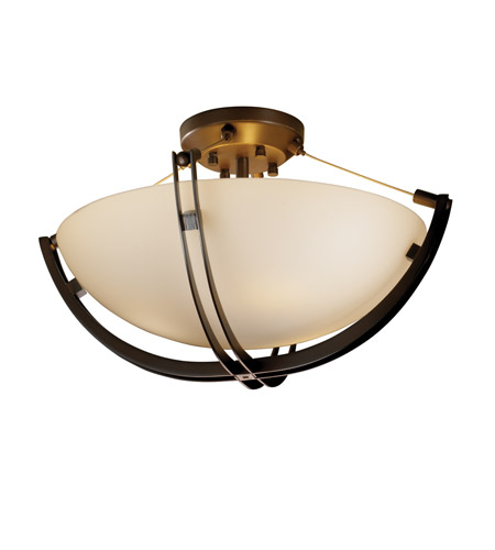Justice Design FSN-9711-35-OPAL-DBRZ-LED3-3000 Fusion LED 22 inch Dark Bronze Semi-Flush Ceiling Light in 3000 Lm LED, Opal photo