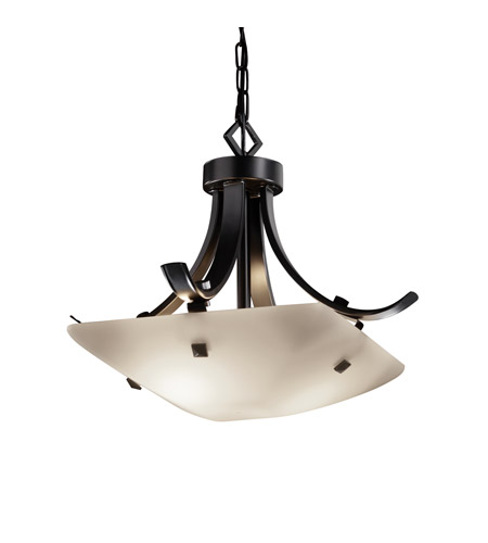Justice Design FSN-9750-25-OPAL-MBLK-F3 Signature 2 Light 19 inch Matte Black Pendant Ceiling Light in Pair of Square with Points, Opal, Square Bowl, Incandescent