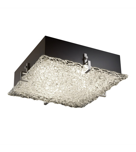 Justice Design GLA-5555-LACE-NCKL Veneto Luce 2 Light 13 inch Brushed Nickel Flush-Mount Ceiling Light photo