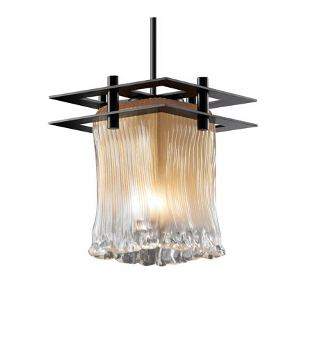 Justice Design GLA-8165-26-CLRT-MBLK-BKCD Veneto Luce 7 inch Matte Black Pendant Ceiling Light in Black Cord, Clear Textured (Veneto Luce), Square with Rippled Rim, Metropolis photo