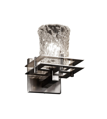 Justice Design GLA-8171-26-CLRT-CROM-LED1-700 Veneto Luce LED 7 inch Polished Chrome Wall Sconce Wall Light in 700 Lm LED, Clear Textured (Veneto Luce), Square with Rippled Rim photo