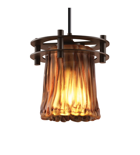 Justice Design GLA-8265-16-AMBR-DBRZ-BKCD Veneto Luce 1 Light 7 inch Dark Bronze Pendant Ceiling Light in Black Cord, Amber (Veneto Luce), Cylinder with Rippled Rim photo