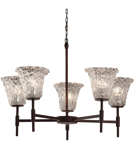 Justice Design GLA-8410-20-LACE-DBRZ Veneto Luce 5 Light 26 inch Dark Bronze Chandelier Ceiling Light in Lace (Veneto Luce), Round Flared, Incandescent photo