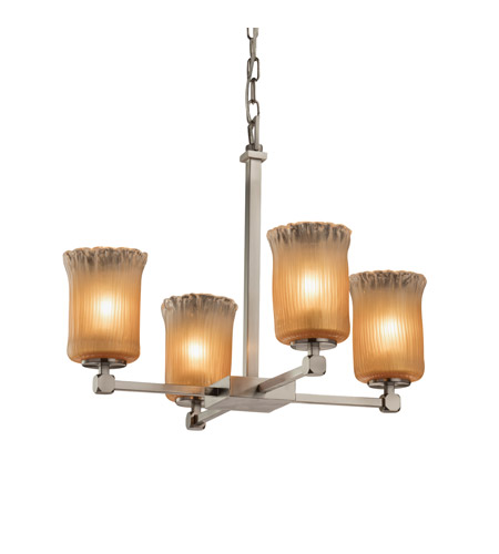 Justice Design GLA-8420-16-GLDC-NCKL Veneto Luce 5 Light 22 inch Brushed Nickel Chandelier Ceiling Light in Gold with Clear Rim (Veneto Luce), Cylinder with Rippled Rim, Incandescent photo