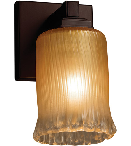Justice Design GLA-8431-16-GLDC-DBRZ-LED1-700 Veneto Luce LED 5 inch Dark Bronze Wall Sconce Wall Light in 700 Lm LED, Gold with Clear Rim (Veneto Luce), Cylinder with Rippled Rim photo